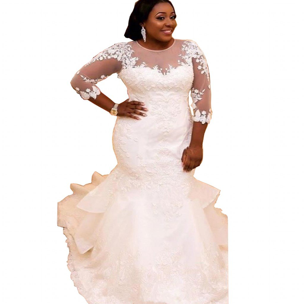 c64fab5331d Chady Elegant Plus Size Mermaid Wedding Dress for Bride 2017 Lace Beading  3 4 Sleeve Mermaid Wedding Gowns White at Amazon Women s Clothing store