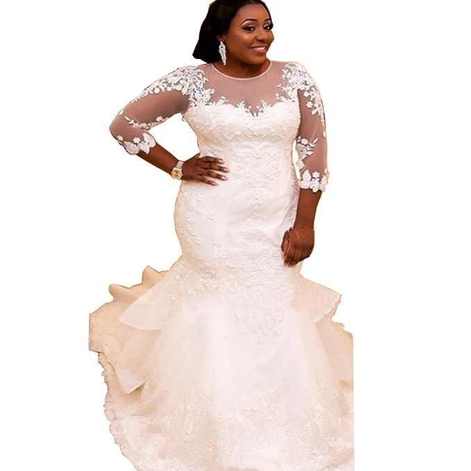 Chady Elegant Plus Size Mermaid Wedding Dress For Bride 2017 Lace