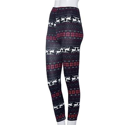 AutumnFall Women's Snowflake/Reindeer Patterned Leggings