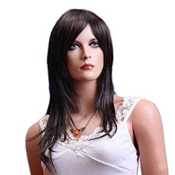 Amazon Com Gooaction Long Sexy Dark Brown Wigs Natural Straight