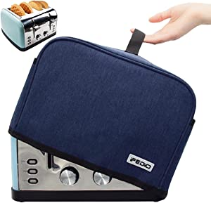 4 slice Toaster Cover,Washable Dust Protection toaster bags,Small Appliance Toaster Dust Cover with Pockets , blue