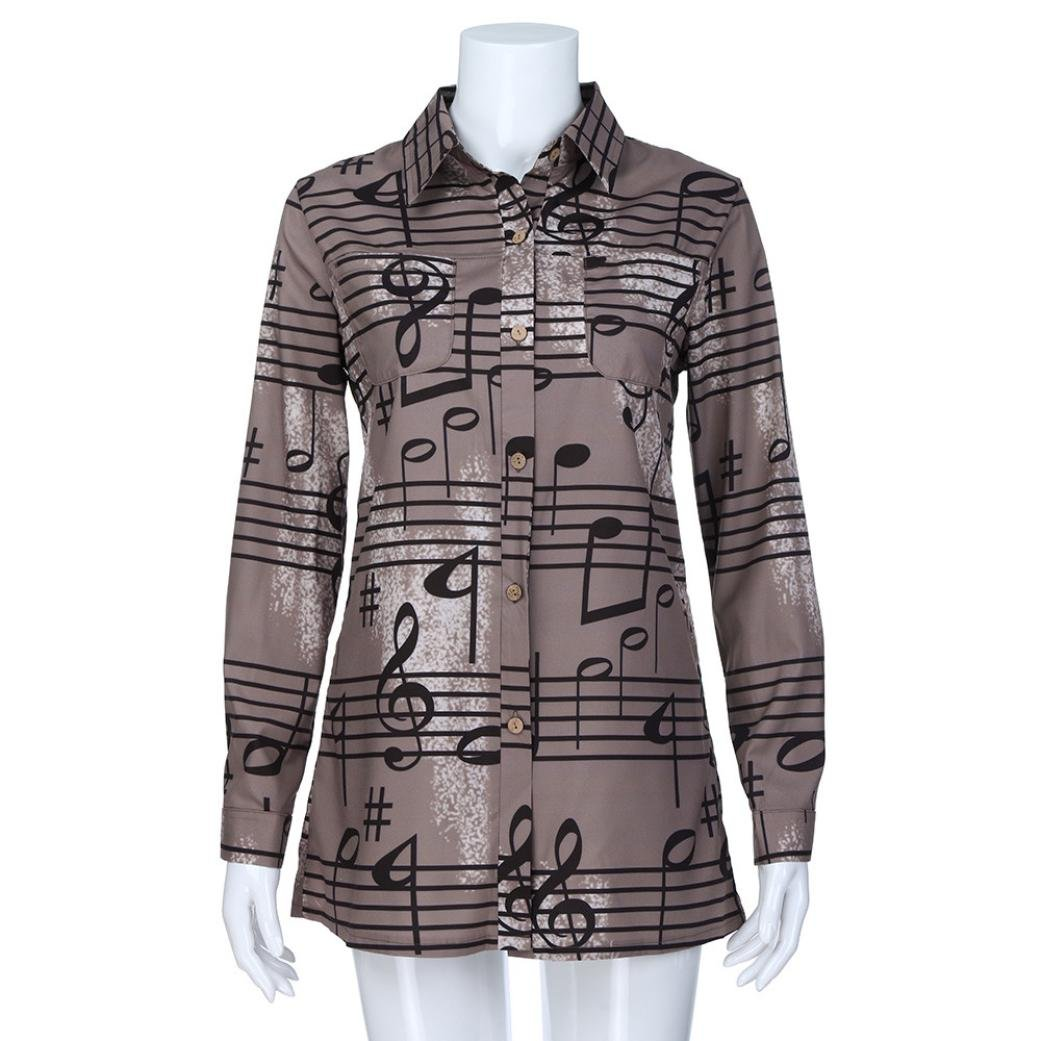 0d7ea4ca29eee Hatoys Women s Ladies Fashion Winter Turndown Collar Musical Note Print  Button Shirts Tops
