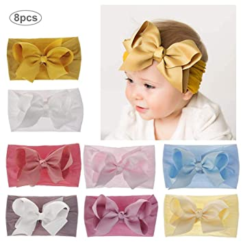 Super Soft /& Stretchy Nylon Hair bands for Newborn Toddler Children Baby Girl Headbands and Bows