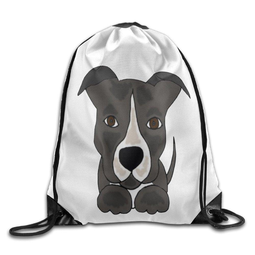 キュートグレーPitbull Puppy Dog Drawstringバックパック梁ポートバッグビームポート引きひもバックパック B01KA9XZXE   One Size