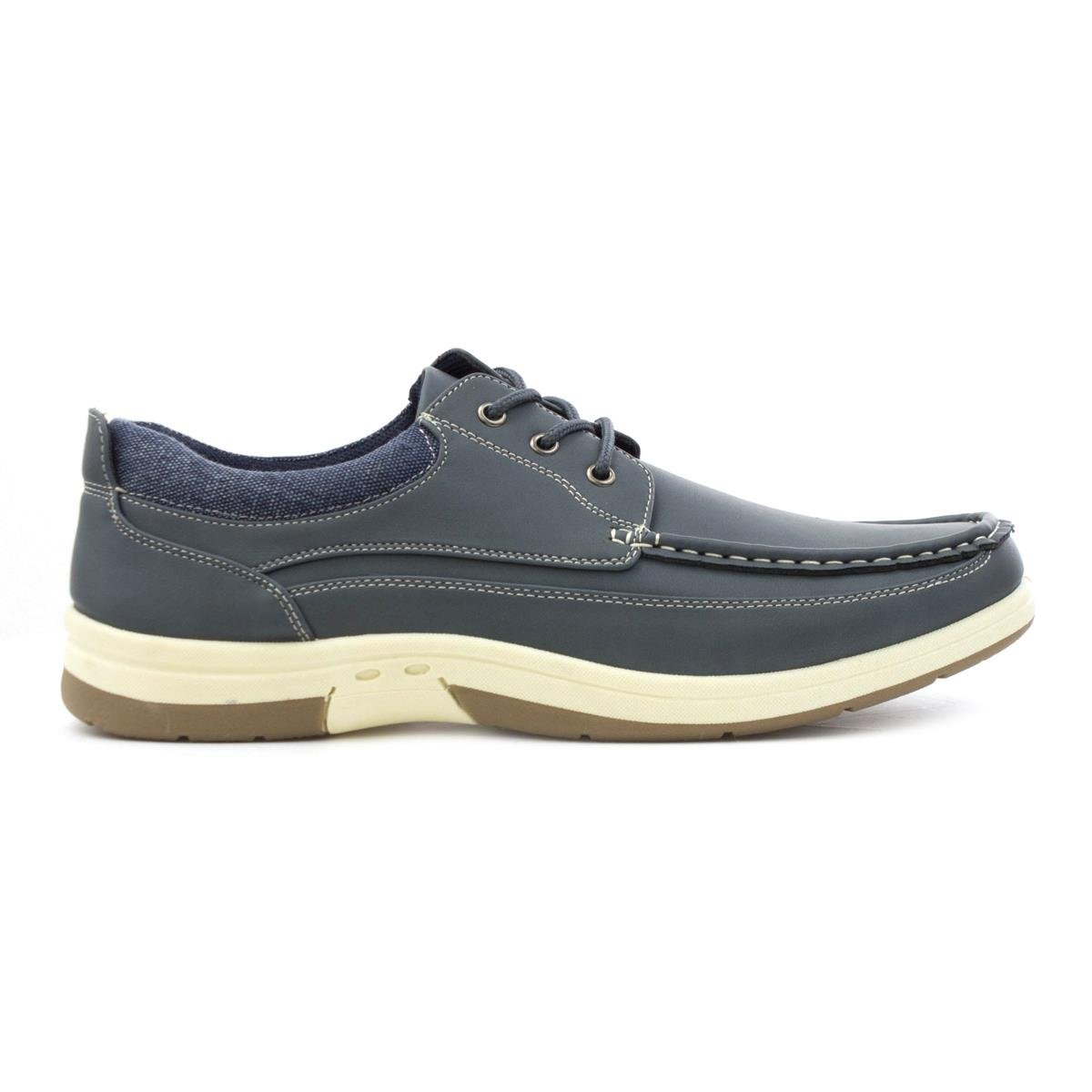 Dr Keller Mens Canvas Shoes Mens Casual Shoes Pumps Faux Leather Lace Navy Size