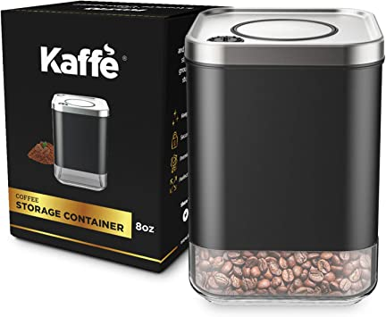 Kaffe Glass Storage Container. Coffee Canister - BPA Free Stainless Steel with Airtight Lid (8oz)