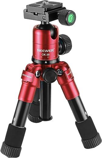 نيوير 20 بوصة / 50 سنتيمتر المحمولة المحمولة المدمجة سطح المكتب ماكس ميني ترايبود مع رأس كروي 360 درجة، لوحة حذاء سريعة 0.6 سم، حقيبة كاميرا دي اس ال ار، كاميرا فيديو الفيديو، يصل إلى 5 كجم أحمر