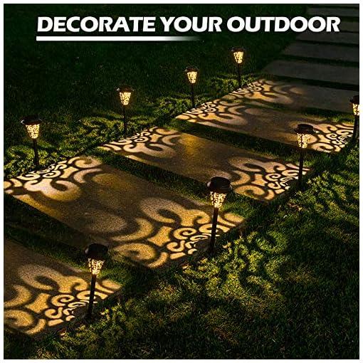 Garden and Outdoor LeiDrail Solar Pathway Lights 6 Pack Outdoor Metal Garden Path Light Warm White LED Landscape Lighting Waterproof for… outdoor lighting
