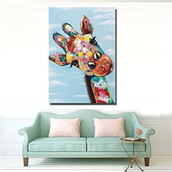 Moderne Kunst Malerei Handgemalte Ölgemälde Farbige Giraffe Frameless  Canvas Home Küche Wand Kunst Hintergrund Dekoration Wandbild