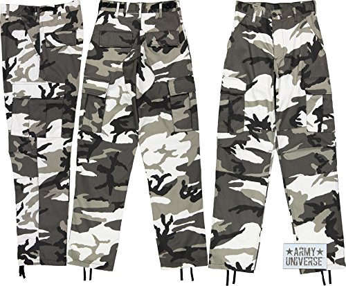 Army Universe Urban City Camouflage Poly/Cotton Military BDU Fatigue Pants With Official ArmyUniverse Pin (Large Regular W 35-39 - I 29.5-32.5) (Camo Cheap Hunting Pants)