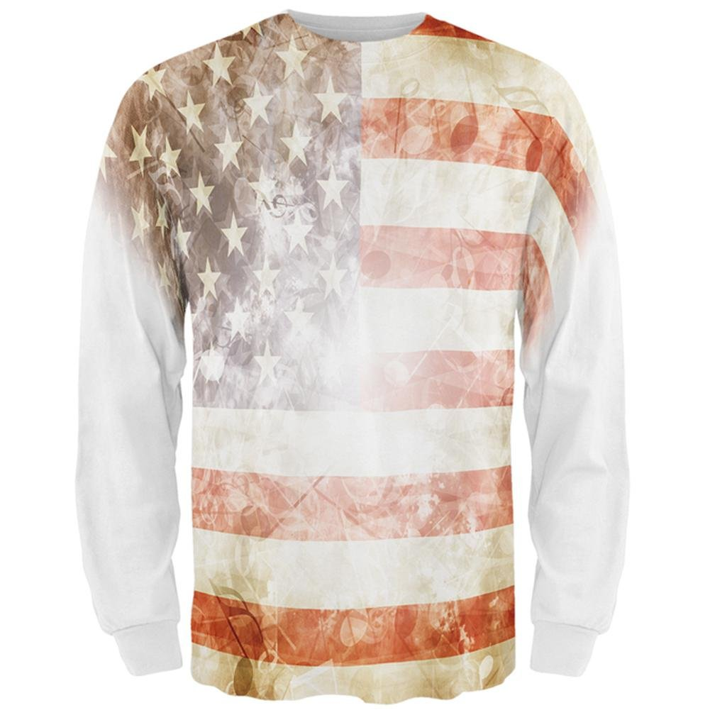 4th of July American National Anthem Flag and Lyrics All Over Mens Long Sleeve T Shirt