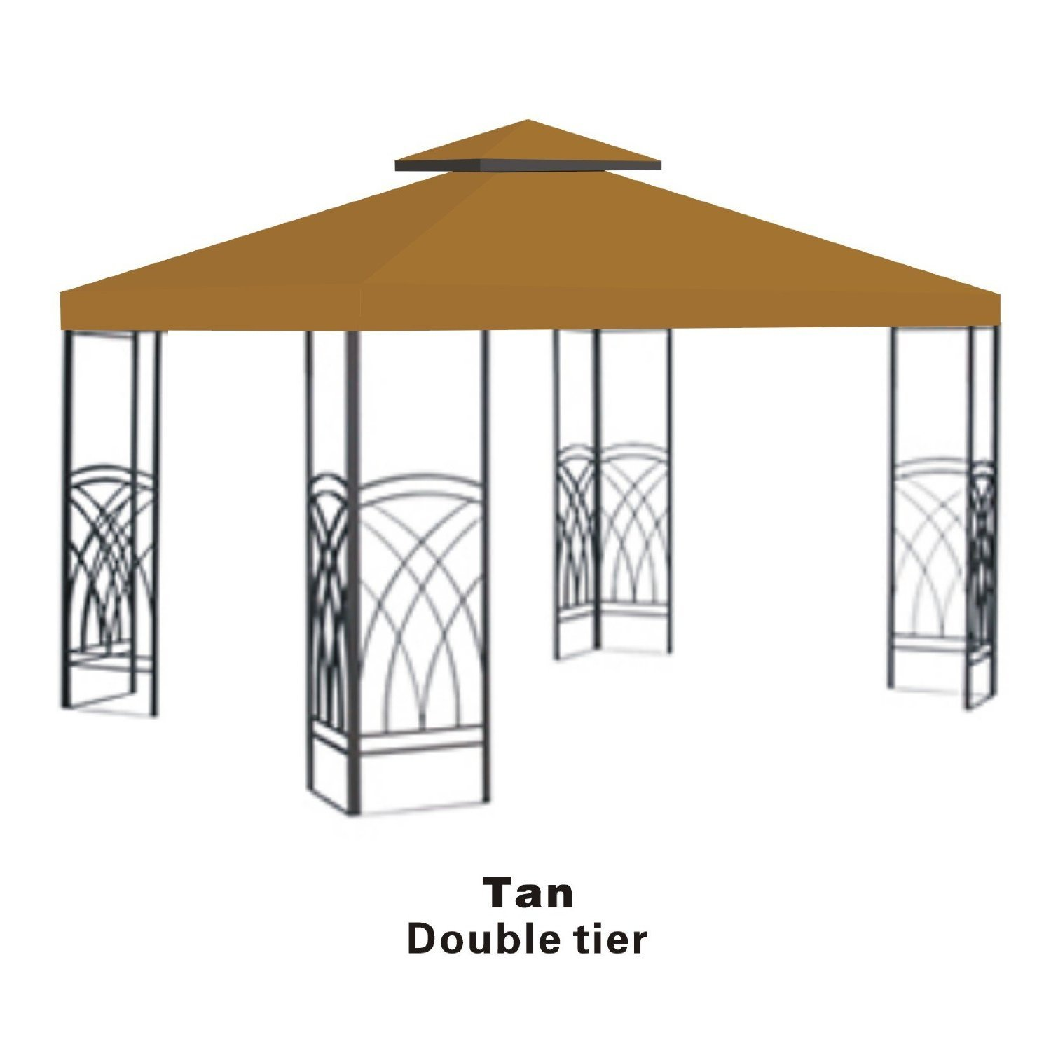 Strong Camel Double Tier Replacement Cover for 10'X10'Gazebo Canopy Top Patio Pavilion Cover Sunshade Polyester-Tan