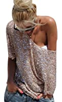 M.Brock Boat Neck Glistening Sequin Cocktail Club Party Tops Tunic Blouses