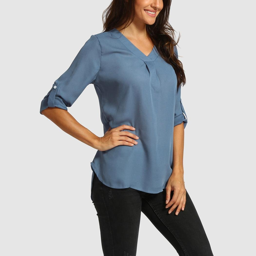 4d3b78fd367aa Hatoys Women Loose Top, Ladies V-Neck Casual Tunic T-Shirts Blouse at  Amazon Women's Clothing store: