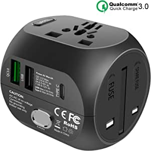 UPPEL Universal Travel Adapter Power Adapter All in One European Adapter Travel Converter with QC3.0&USB&Type-C Port Function Charger,Universal Plug Adapter Used in UK/US/EU AU/Asia(200 Countries
