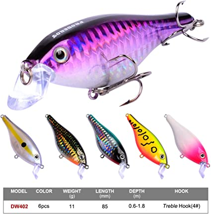6Pcs Minnow Fishing Lures  Bass Wobbler Hard Bait lure for Trout Catfish Musky
