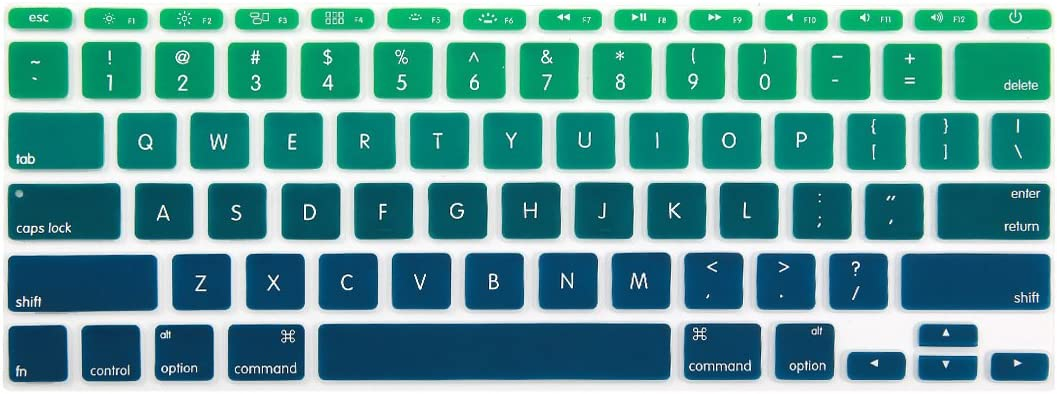Batianda Ultra Thin Gradient Color Silicone Keyboard Cover Skin for Apple MacBook Air 11 inch (Models: A1370 and A1465) (Gradient Green)