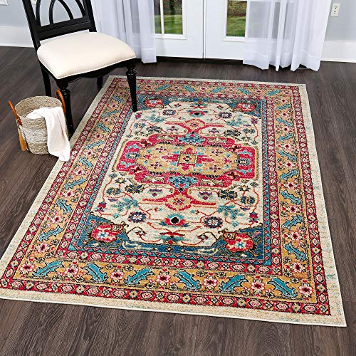 Home Dynamix 8030-602 Serena Wilson Traditional Area Rug Bohemian Medallion 3 x 5 , Ivory Fuchsia Gold