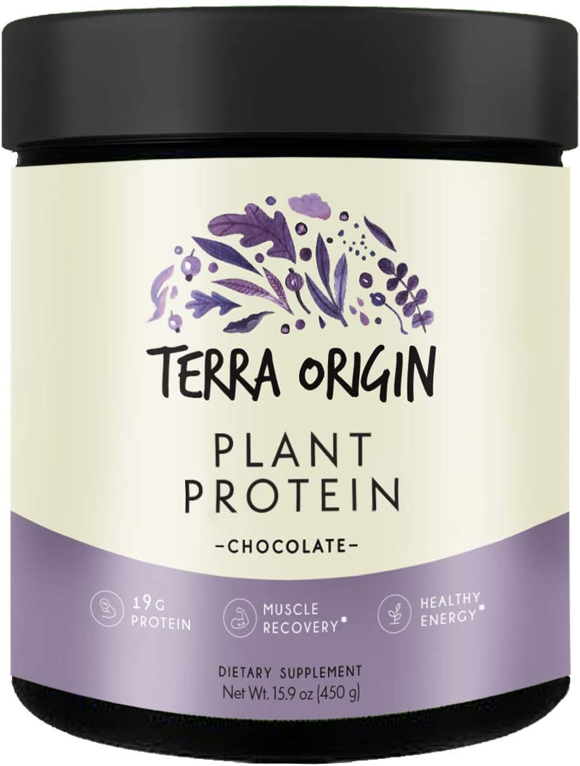 Terra Origin, Plant Protein, Powder, Chocolate, 15 Servings Includes Organic Brown Rice Protein and Pea Protein Isolate, Vegan, Gluten Free, 18g Protein