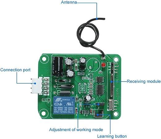 OWSOO Interruptor Remoto Inalámbrico 433Mhz DC 12V-24V 1CH Smart ...