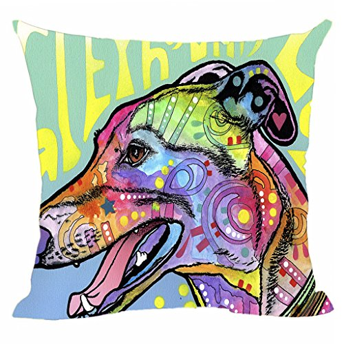 CafeTime Funny Art Greyhound Pillow Cover Square Decorative Cushion Cover Colorful Dog Customize Animals Canvas Pillowcases 20