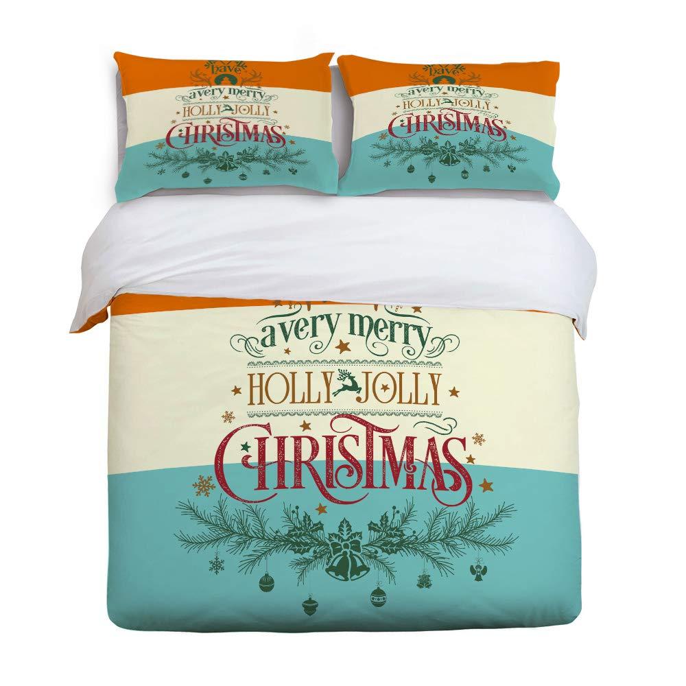 YEHO アートギャラリーキュート3ピース布団カバーセット キッズベッドセット 男の子 女の子 かわいい猫 メリークリスマスグリーンパターン 大人用寝具セット 枕カバー2枚付き フルサイズ 20181219yagwhlsjsjsSCRY01746SJSBYAG B07LH5RVNB Christmas-063yag0724 フルサイズ