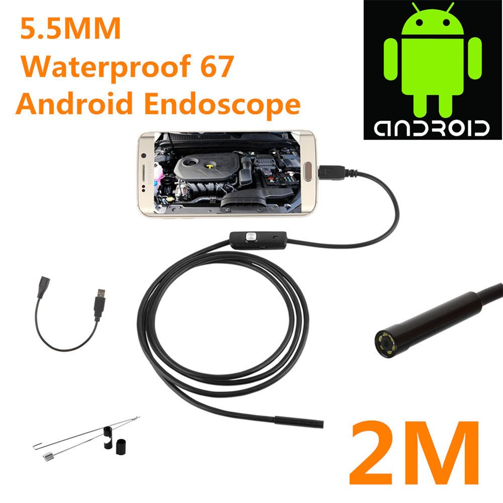 Aoile IP67 Waterproof 0.3MP Android USB Endoscope with 6 LED Lights