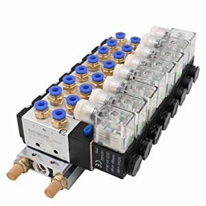 Baomain Solenoid Valve 4V210-08 DC 24V PT1/4 2 Position 5 Way 8 Space Manifold with Base Muffler Quick Fittings Set