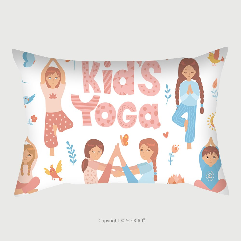 Custom Satin Pillowcase Protector Cute Kids Doing Yoga Exercises Yoga Kids Set Gymnastics For Children And Healthy Lifestyle 559726207 Pillow Case Covers Decorative