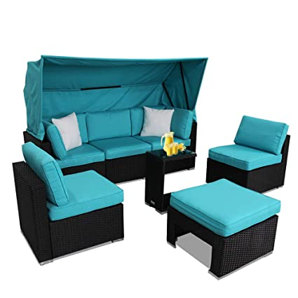 Prime Leaptime Patio Sofa W Awning Rattan Couch Set Outdoor Deck Furniture Garden Wicker Seating Black Rattan Turquoise Cushion Ncnpc Chair Design For Home Ncnpcorg