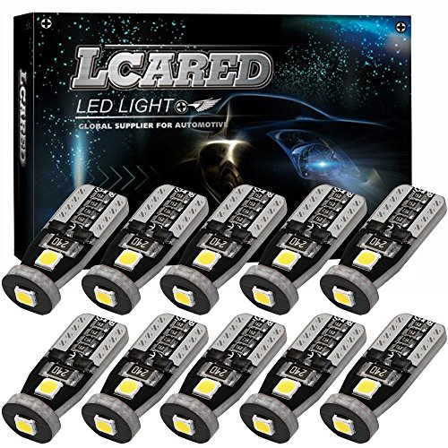 LCARED 194 LED Bulb Extremely Bright Interior Car Lights 3030 Chipset for Xenon White T10 168 194 2825 Car Interior Dome Map Door Courtesy license plate light