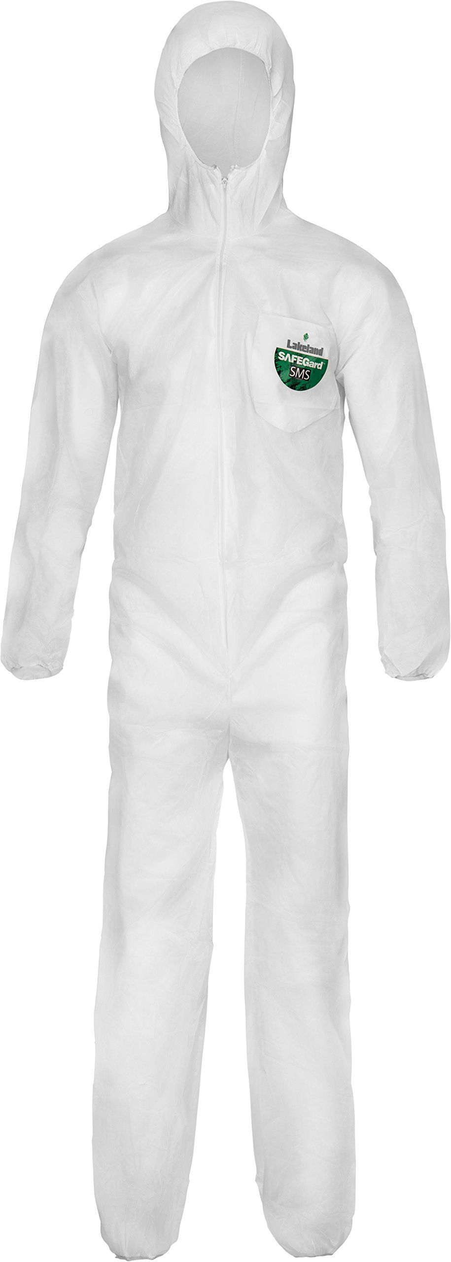 Lakeland SafeGard SMS Polypropylene Coverall with Hood, Disposable, Elastic Cuff, Large, White (Case of 25)