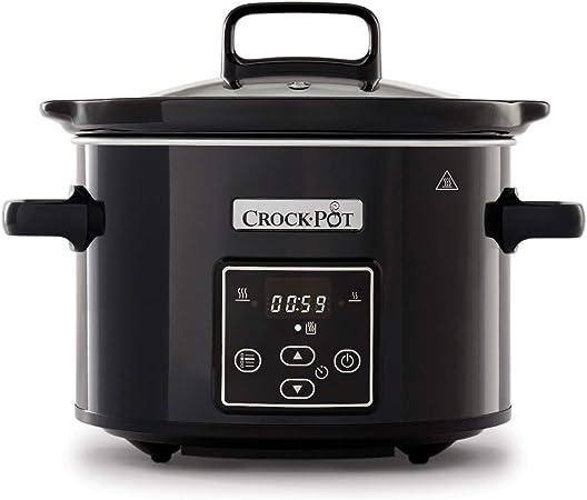 Comprar Crock-Pot CSC061X Olla de cocción lenta digital para preparar todo tipo de recetas, óptimo si cocinas para ti solo o para dos, 2.4 litros, Negro/Cromado