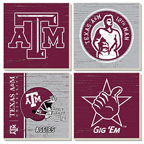 Square Collegiate Coasters (Set of 4) (Texas A&M)