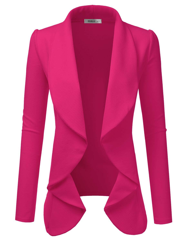 Doublju Classic Draped Open Front Blazer for Women with Plus Size Fuchsia Medium
