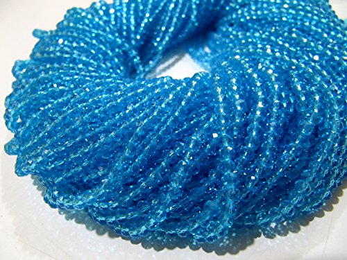 - AAA Quality Sky Blue Topaz Beads / 3-4mm Size Rondelle Faceted Crystal Beads / 100 Beads approx per Strand / Sky Blue Hydro Quartz Beads