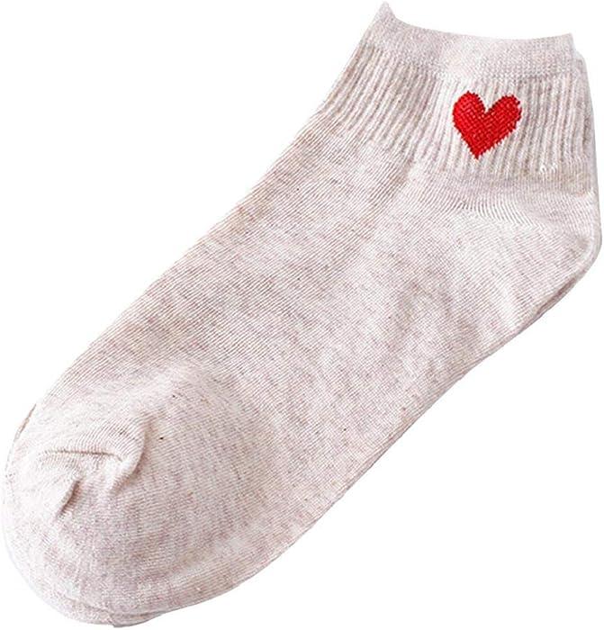 SHOBDW Mujeres Impresión en forma de corazón Monopatín lindo Calcetines cómodos Calcetines sólidos Pure Pure Cotton Calcetines básicos Calcetines de tobillo ...