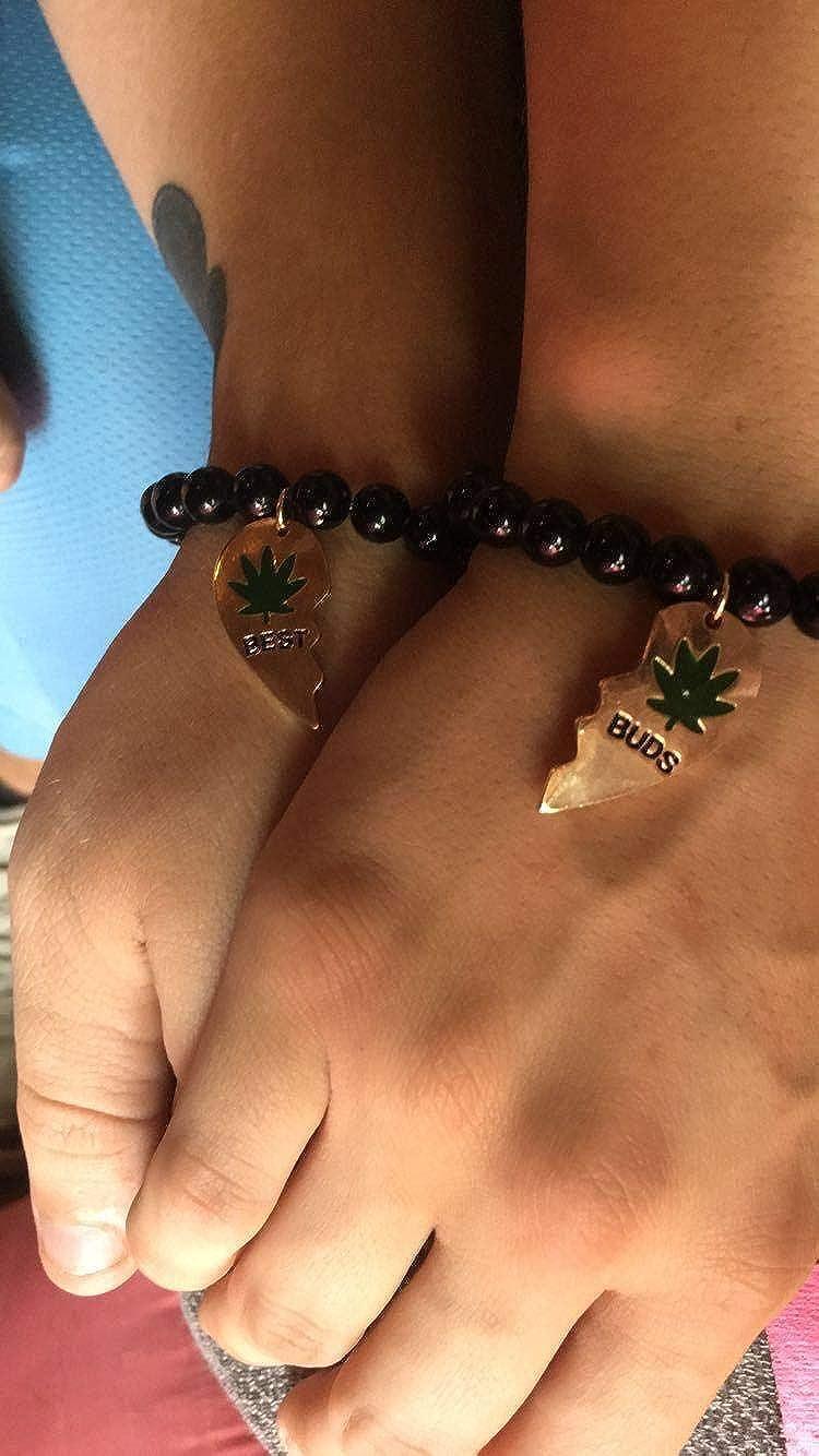 Lux Accessories Black Beaded Best Buds Weed 420 Marijuana BFF Best Friends Matching Bracelet Set