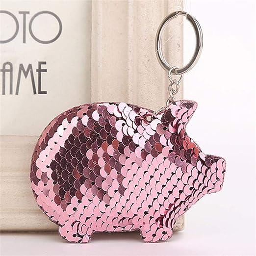 Htro Cute Pig Llavero Flash Pompom Lentejuelas Llavero ...