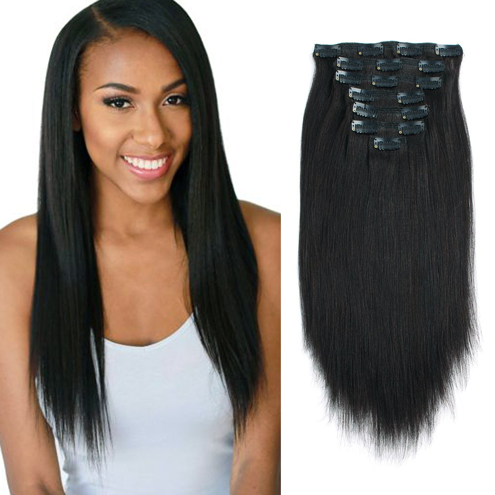 Lovrio Real Remy Thick Double Weft Clip in Human Extensions Yaki Straight Natural Black Color for African American Full Head Soft Virgin Hair 7 Pieces 120g with 17 Clips YK 12'' by Loviro