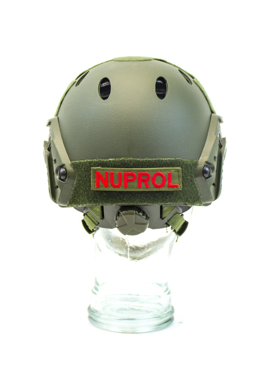 Nuprol Airsoft Fast Railed Helmet Green Tan Adjustable Padded Neck Support 6110