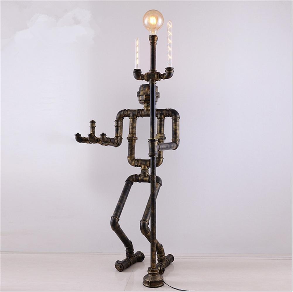 Industrie Stil torchiere Stehlampe Antike Vines Metallrohr Bodenleuchte