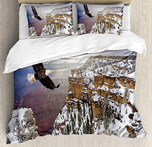 Queen Size Africa 3 PCS Duvet Cover Set, Aerial View of Bald Eagle Flying in The Snow Covered Grand Canyon Rocky Arizona USA, Bedding Set Bedspread for Children/Teens/Adults/Kids, White ()