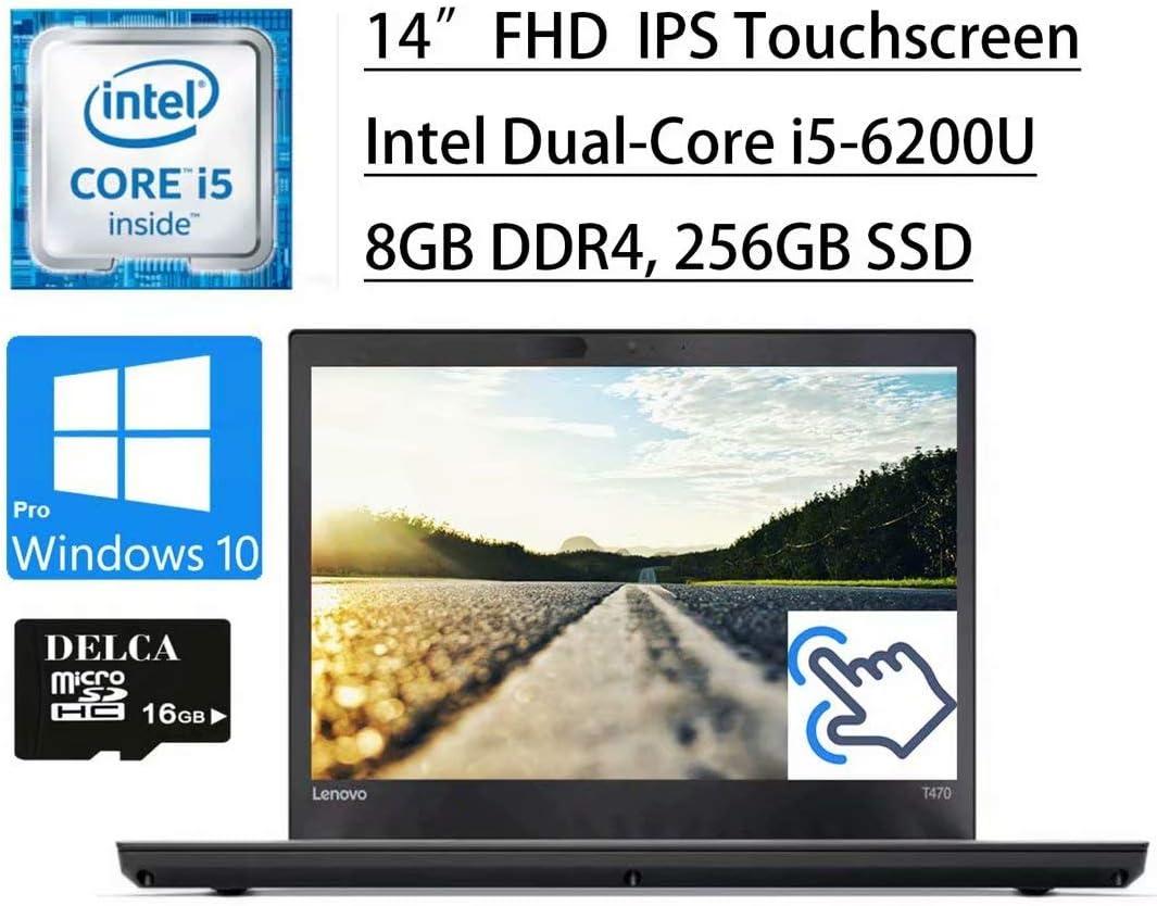 "Flagship 2020 Lenovo Thinkpad T470 Thin Business Laptop I 14"" FHD IPS Touchscreen I Intel Core i5-6200U I 8GB DDR4 256GB SSD I Fingerprint Dolby Thunderbolt Win 10 Pro + Delca 16GB Micro SD Card"