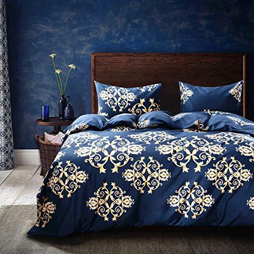 Cozyholy Luxury Royal style Duvet Cover Baroque Design Comforter Cover Vintage Bohemian Set Ultra Soft Zipper Colsure, 3 Pieces Bedding Set (Queen, Navy blue - luxury golden Baroque (Baroque Comforter Set)
