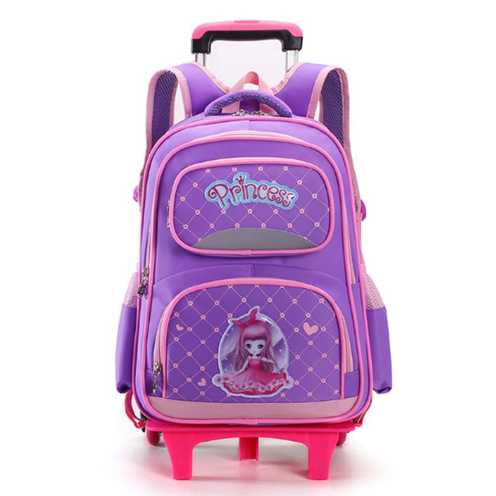 A HIMFL Mädchen Trolley-Schultasche Note 1 bis 6 Treppen steigen Sechs Räder Rollender Rucksack für Studierende