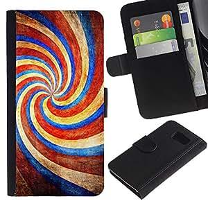 Planetar® Modelo colorido cuero carpeta tirón caso cubierta piel Holster Funda protección Para Samsung Galaxy S6 / SM-G920 ( Candy Amusement Park Red Blue Candy )