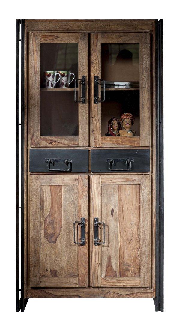 SIT-Möbel 9204-01 Vitrine Panama Shesham natur mit schwerem Altmetall und Gebrauchsspuren, 90 x 40 x 180 cm, 4 Türen, 2 Schubladen