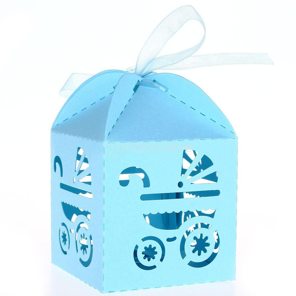 Blue Candy Ribbon Boxes Laser Cut Baby Shower Carriage Shower Favor Bomboniere Gifts 50pcs, Blue