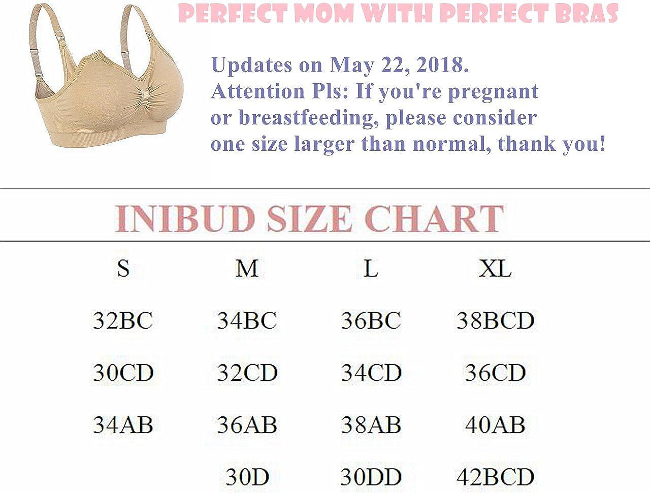 INIBUD Nursing Bras Seamless Maternity Bra with Free Bra Extenders
